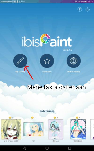 ibisPaint X:n aloitusnäkymä